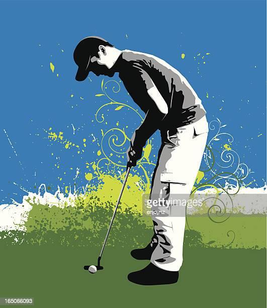 ilustrações de stock, clip art, desenhos animados e ícones de explosão de golfe - putting