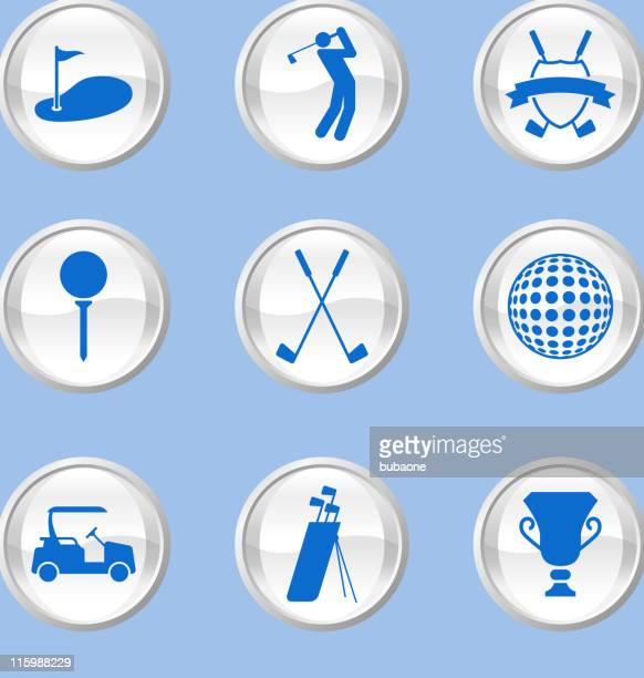 A golf buttons on pastel blue background
