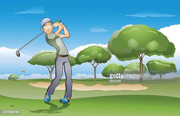 golf champion - sand trap stock illustrations, clip art, cartoons, & icons