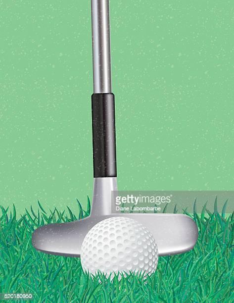 ゴルフクラブとボールスポーツの背景