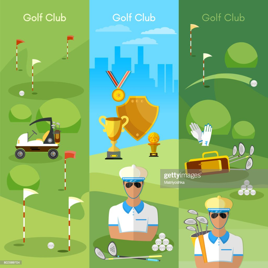 Golf club banner sports, golfing elements concept equipment for golf sport competitions