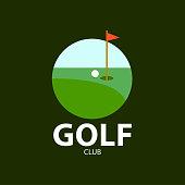 Golf club logo on green background . Vector illustration