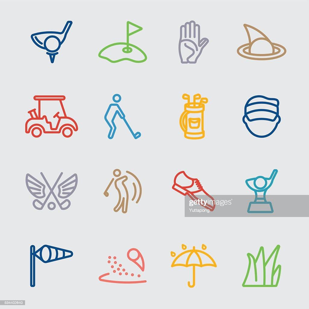 Golf color line icon