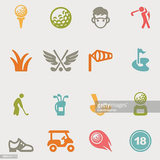 golf color variation icons | eps10 - sand trap stock illustrations, clip art, cartoons, & icons