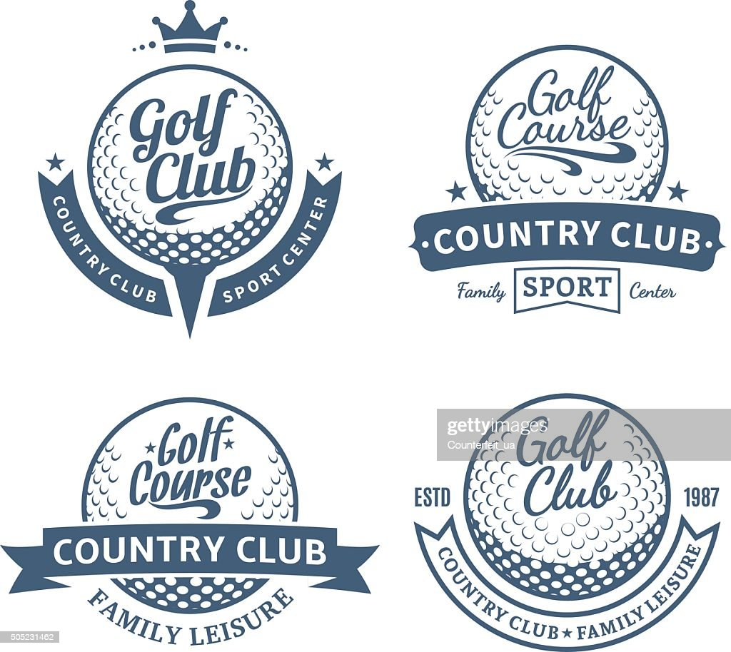 Golf country club labels and design elements