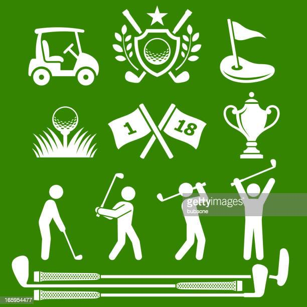 golf country club tournament green & white vector icon set - sand trap stock illustrations, clip art, cartoons, & icons