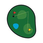 Golf course flat icon