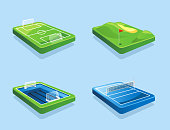 Golf course Football field Water polo Volleyball