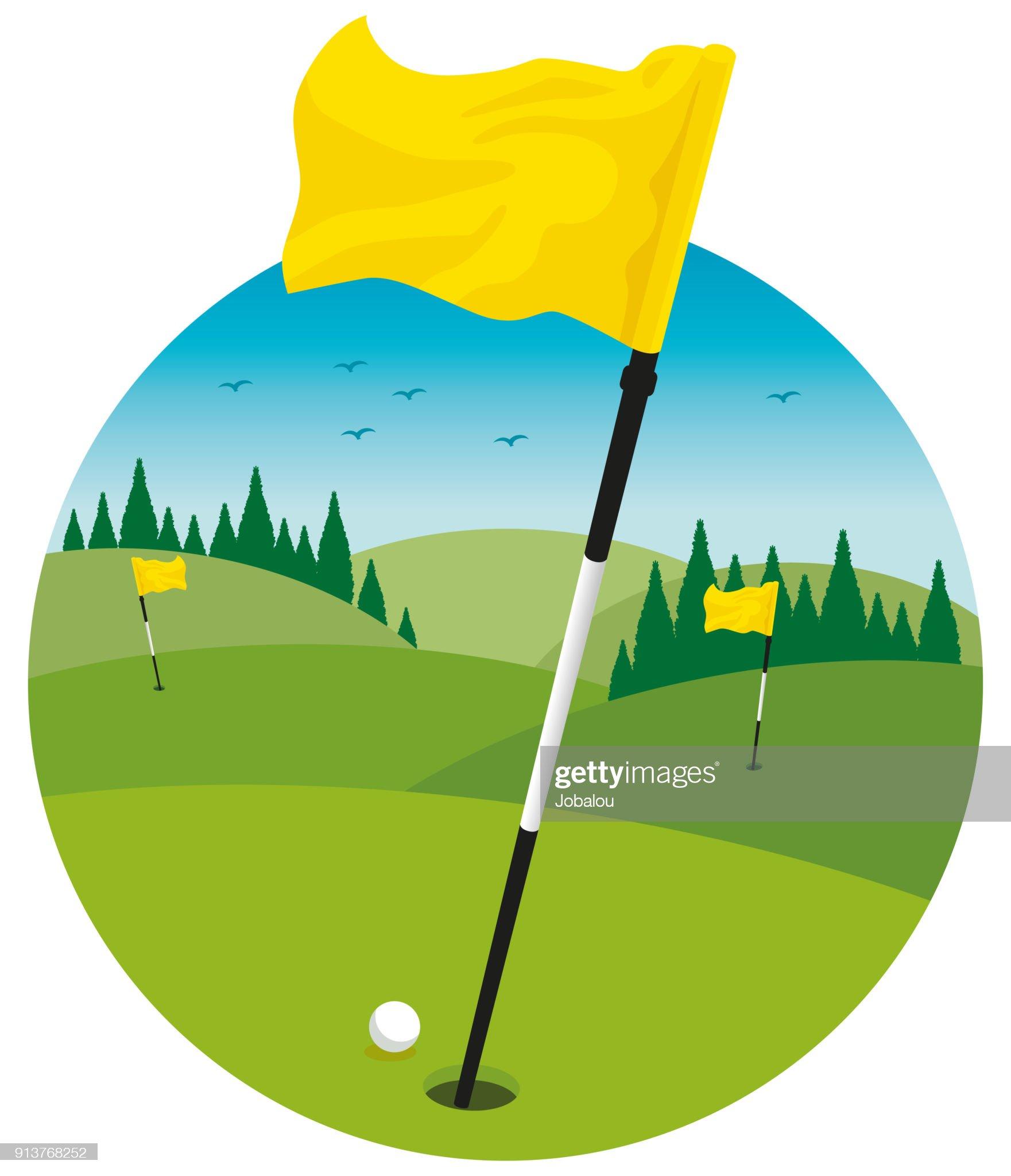 ゴルフ場風景クリップアート : ストックイラストレーション