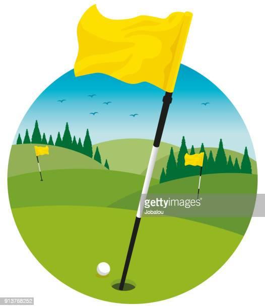golf course landscape clip art - golf flag stock illustrations