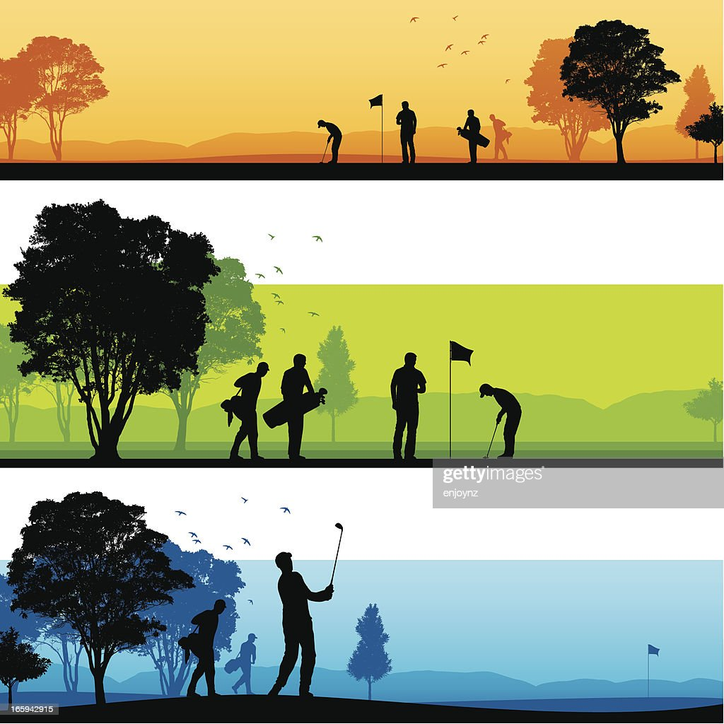 Golf course silhouettes : stock illustration