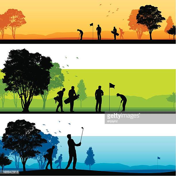 golf course silhouettes - golf stock illustrations