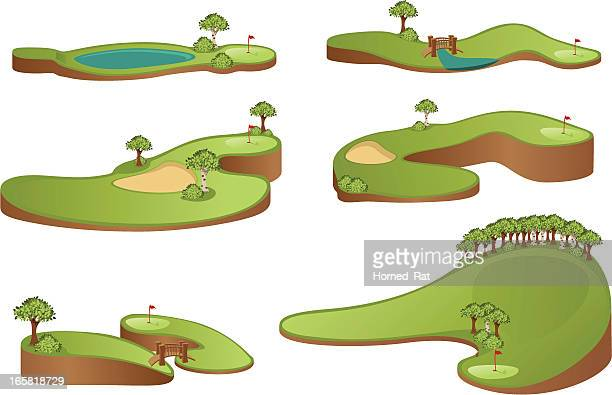 golf course - green golf course stock illustrations, clip art, cartoons, & icons