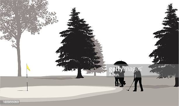 golf course vector silhouette - putting green stock illustrations