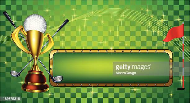 golf design with gold cup - award plaque stock illustrations, clip art, cartoons, & icons
