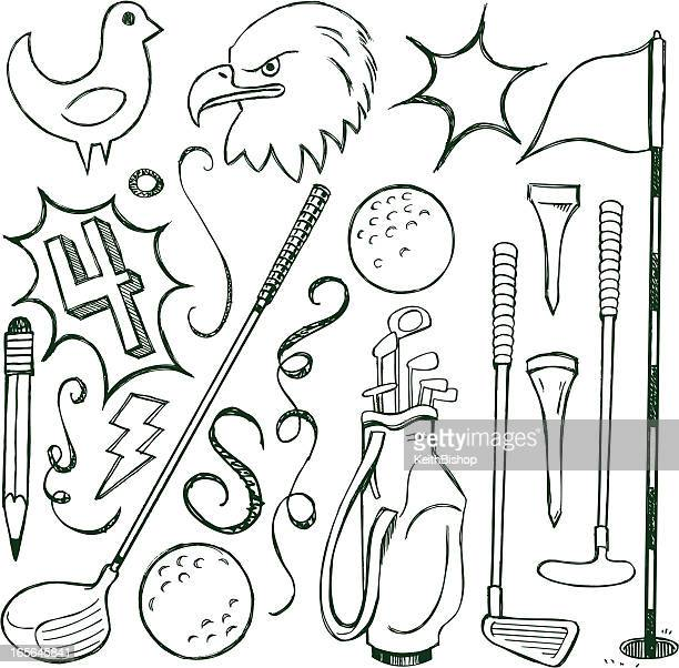 golf doodle cartoon - eagle golf stock illustrations