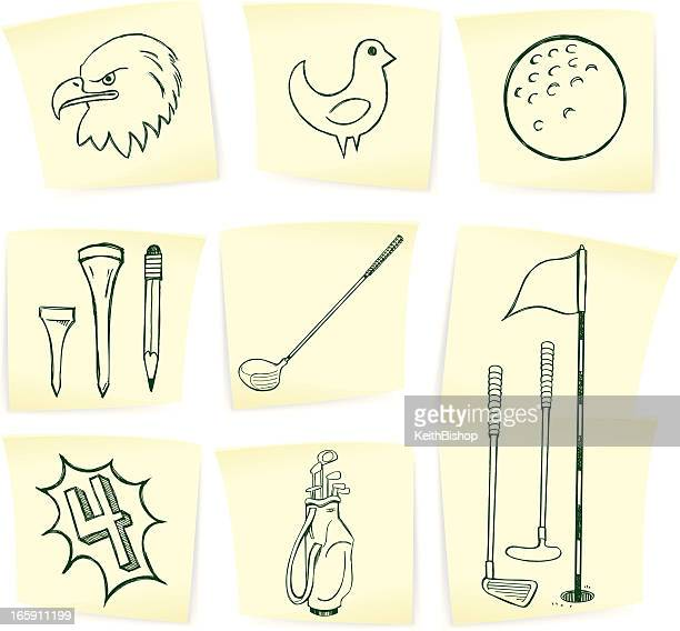 golf doodles on sticky notes - eagle golf stock illustrations