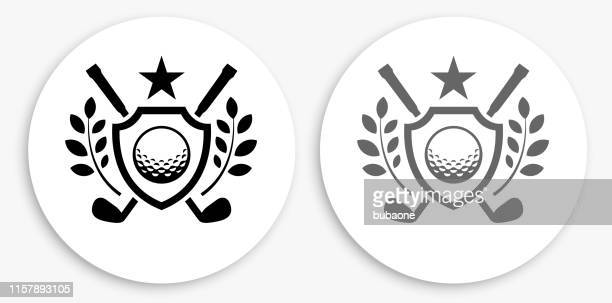 golf emblem black and white round icon - golf ball stock illustrations