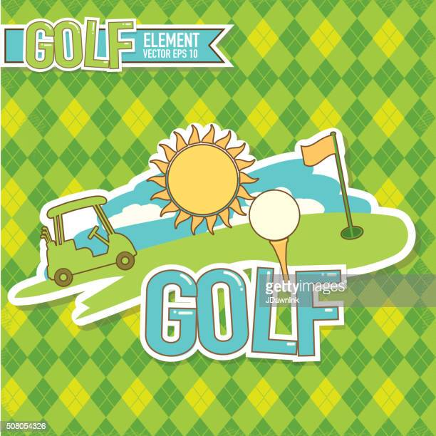 golf emblem design golf  elements and argyle background - teeing off stock illustrations, clip art, cartoons, & icons
