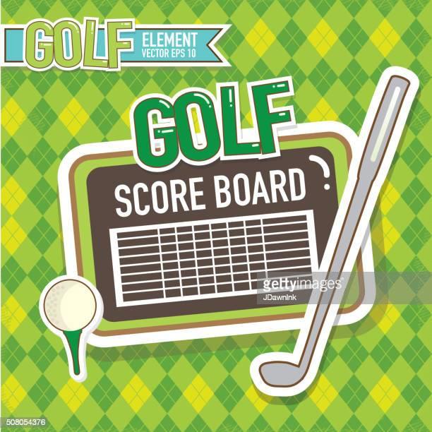 Golf emblem design golf score card, tee, club argyle background