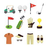 Golf Equipment Flat Set. Vector