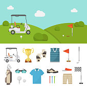 Golf equipment set and lawn picture