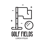 Golf Field Emblem with Flag and Ball