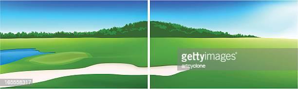 golf field landscape - sand trap stock illustrations, clip art, cartoons, & icons