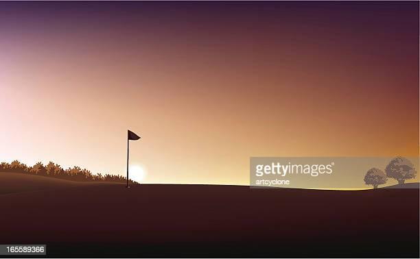 ゴルフフィールドの夕日