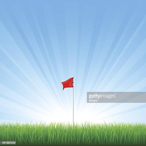 golf flag - green golf course stock illustrations, clip art, cartoons, & icons