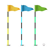 Golf Flags Vector. Realistic Flags Of The Golf Course. Isolated Illustration