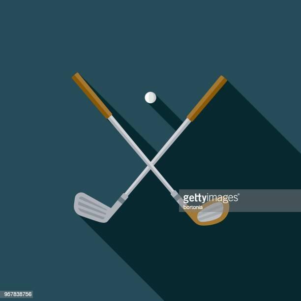golf flat design sports icon with side shadow - golf club stock illustrations