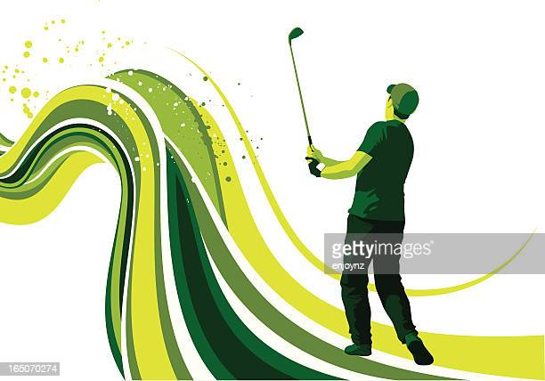 golf flow - golf swing stock illustrations, clip art, cartoons, & icons