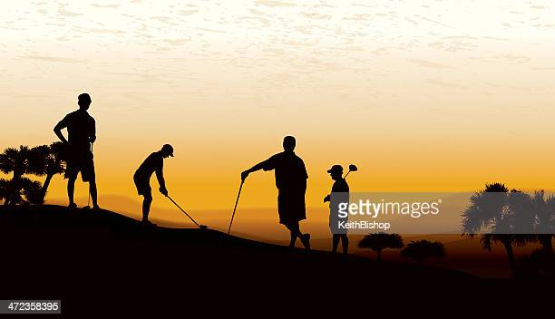 golf foursome teeing off at twilight - teeing off stock illustrations