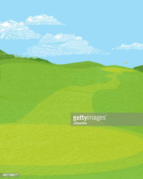 golf golf tee off with flag in background. - teeing off stock illustrations, clip art, cartoons, & icons