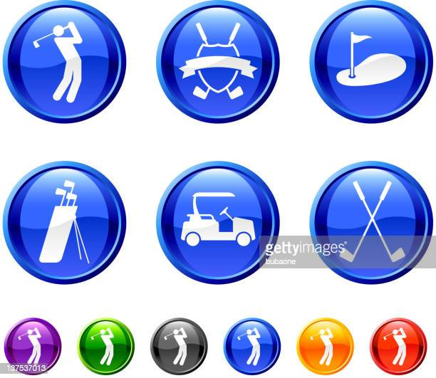 golf golfing. 36 royalty-free vector arts buttons.