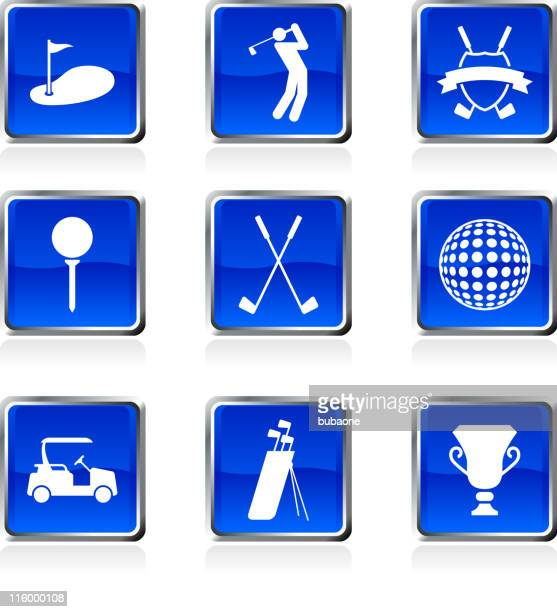 golf golfing royalty free vector arts buttons on black Background