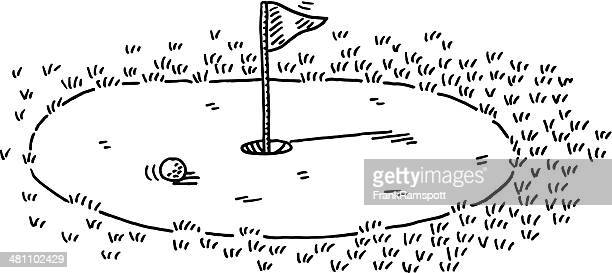 Golf Green Flag Putting Drawing