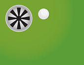 Golf Green with Ball and Cup Background Illustration