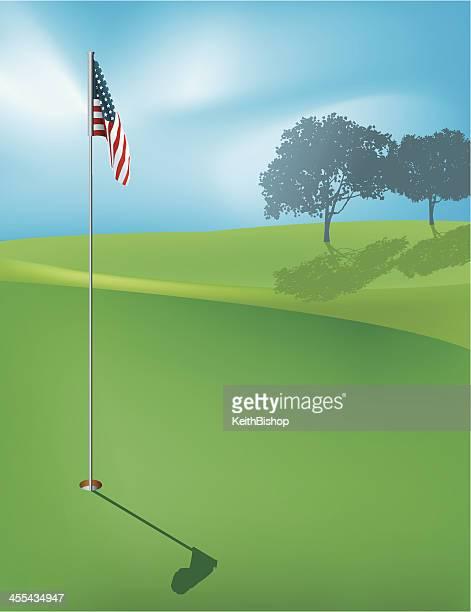 ゴルフホールの背景-アメリカの国旗