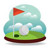 golf hole flag and landscape