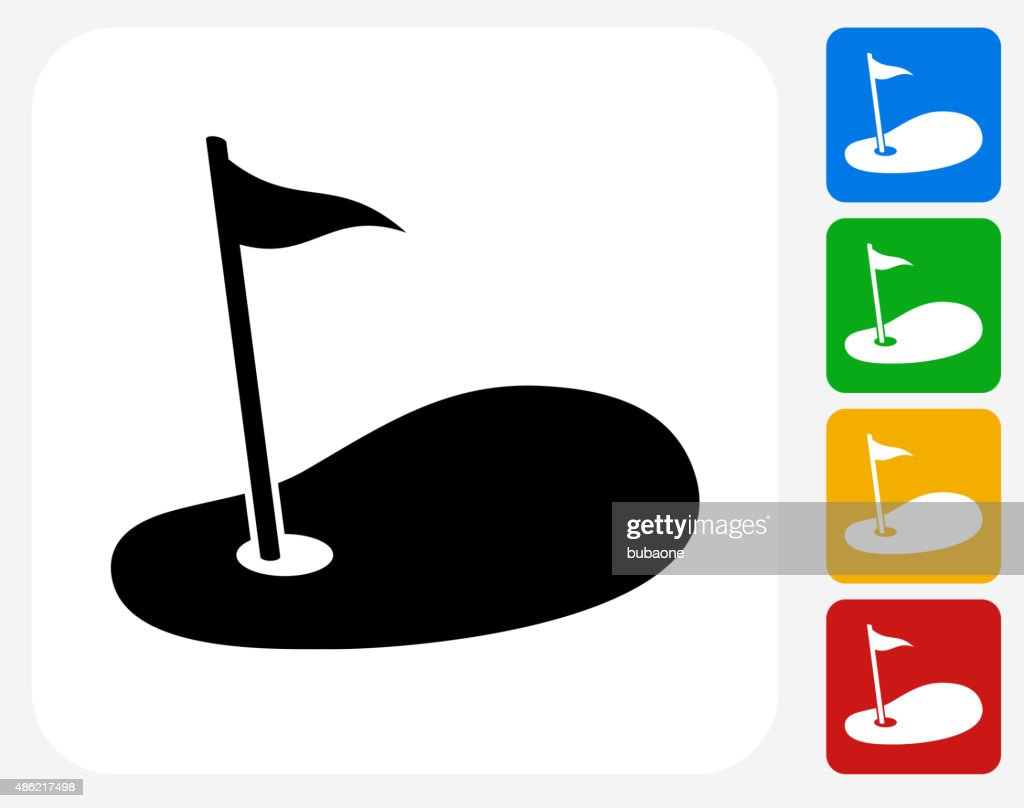 Golf Hole Flag Icon Flat Graphic Design : Stock Illustration
