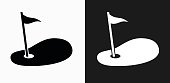 Golf Hole Flag Icon on Black and White Vector Backgrounds