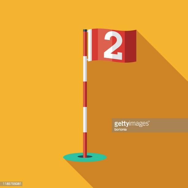 golf hole flag icon - golf flag stock illustrations