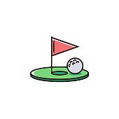 Golf hole with flag and ball - flat color line icon on isolated background.