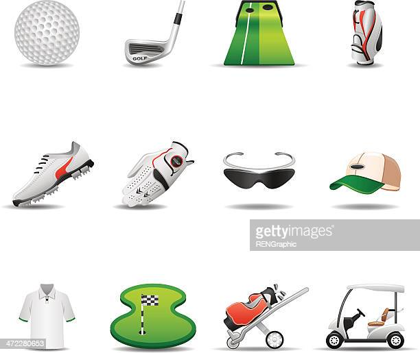 golf icon set | elegant series - green golf course stock illustrations, clip art, cartoons, & icons