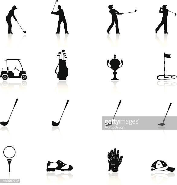 golf icon set - green golf course stock illustrations, clip art, cartoons, & icons