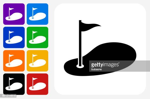 golf icon square button set - green golf course stock illustrations, clip art, cartoons, & icons