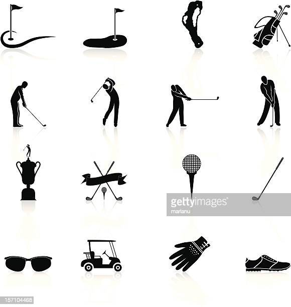 golf icons and elements - black series - golf swing stock illustrations, clip art, cartoons, & icons