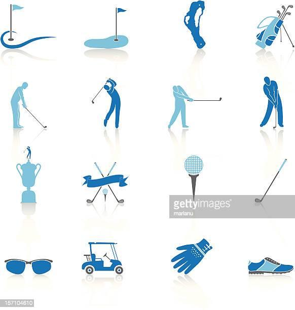 ゴルフのアイコンと要素-ブルーシリーズ